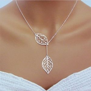 Boho Falling Leaves Silver/Gold Dangle Necklace